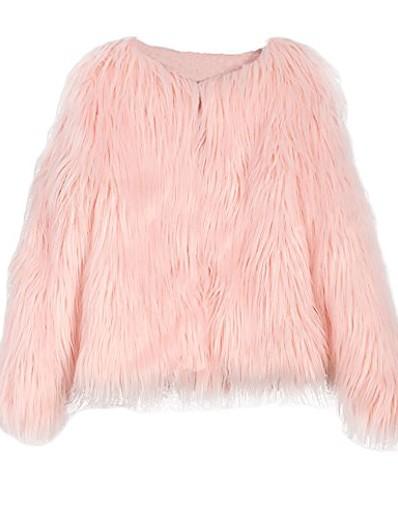 cheap Furs & Leathers-women's shaggy faux fur coat solid color long sleeve short jacket