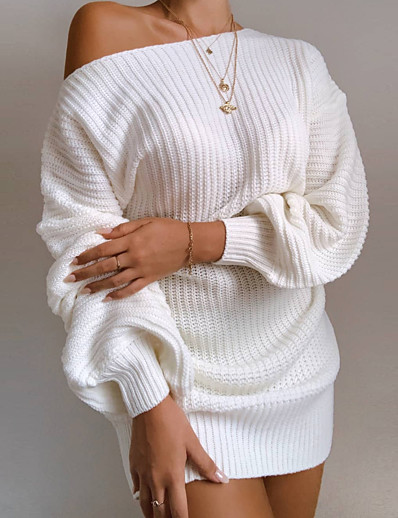 cheap Casual Dresses-Women's Sweater Jumper Dress Short Mini Dress - Long Sleeve Backless Spring Fall Off Shoulder Casual Hot Going out Cotton Loose 2020 White Black Blushing Pink Wine Khaki S M L XL