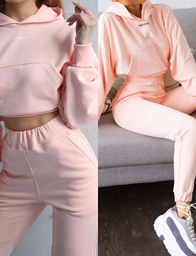 cheap Running, Jogging & Walking-Women's 2 Piece Cropped Tracksuit Sweatsuit Street Casual 2pcs Long Sleeve Spandex Moisture Wicking Breathable Soft Fitness Gym Workout Performance Running Training Sportswear Solid Colored Hoodie