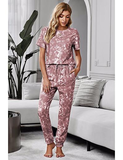 preiswerte Zweiteiliges Set-Damen Grundlegend Batik Zweiteiliges Set Bluse Hose Druck Oberteile