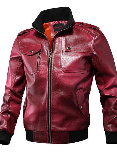 abordables Vêtements d'extérieur pour hommes-Homme Mao Veste de cuir Normal Couleur Pleine Quotidien basique Manches Longues Noir Rouge Vert Marron US32 / UK32 / EU40 US34 / UK34 / EU42 US36 / UK36 / EU44 US38 / UK38 / EU46
