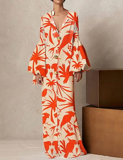 cheap Maxi Dresses-Women's Sheath Dress Maxi long Dress - Long Sleeve Color Block Print Fall V Neck Sexy Daily 2020 Orange S M L XL XXL XXXL