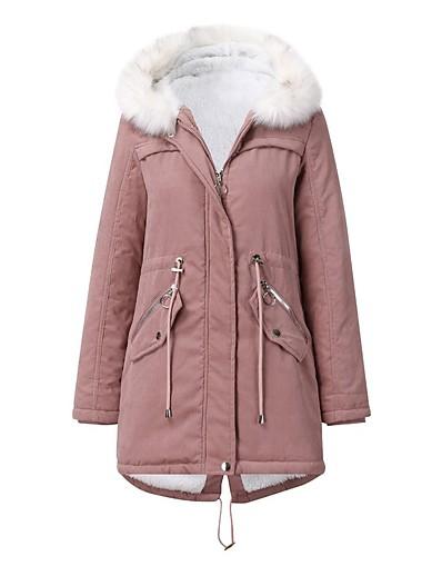 cheap Down& Parkas-Women's Fall & Winter Coat Long Solid Colored Daily Basic Fur Trim Black Blushing Pink Wine M L XL