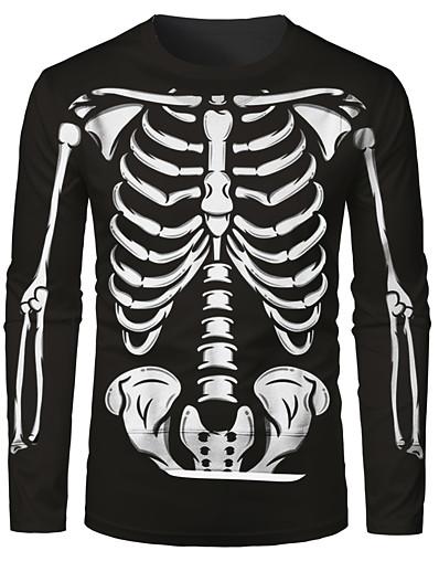 cheap Men's Tops-Men's Unisex Tee T shirt Graphic Skull 3D Print Vintage Style Retro Daily Long Sleeve Regular Fit Tops Basic Round Neck Black / Fall / Summer