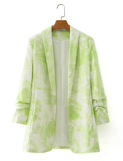 cheap Blazers-Women's Shawl Lapel Blazer Tie Dye Green S / M / L
