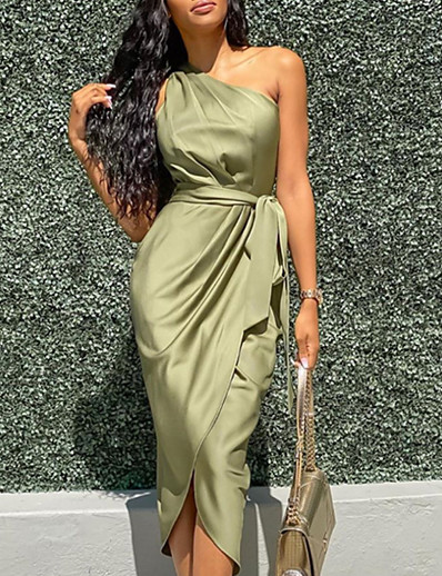 cheap Bodycon Dresses-Women's Wrap Dress Midi Dress - Sleeveless One Shoulder Sexy Cocktail Party Slim 2020 Army Green S M L XL