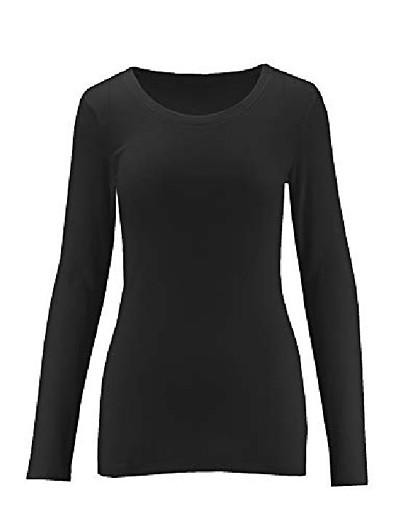 cheap TOPS-womens crew neck cotton blend essential long sleeve t-shirt top scoop neck - mustard small