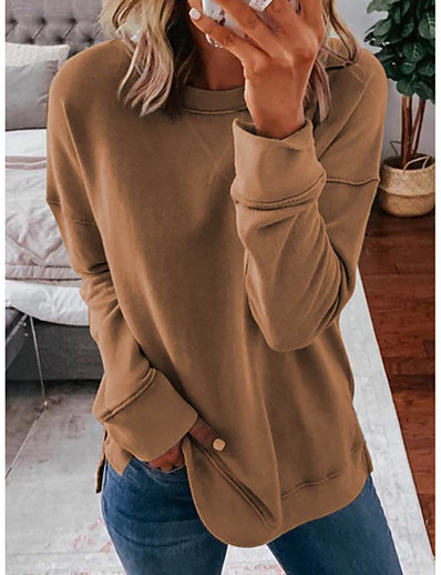 cheap Hoodies & Sweatshirts-Women's Daily Pullover Sweatshirt Solid Colored Basic Hoodies Sweatshirts  Cotton Loose Oversized Blue Blushing Pink Khaki