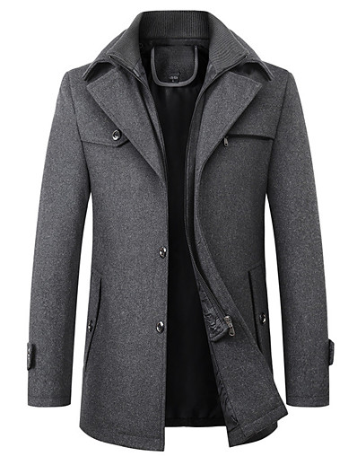 cheap Men's Outerwear-Men's Solid Colored Fall & Winter Basic Long Overcoat Daily Polyester Long Sleeve Coat Tops