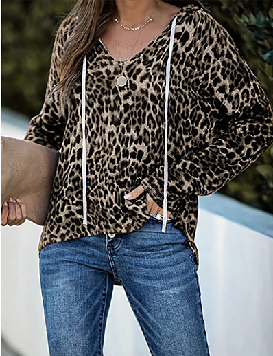 cheap Hoodies & Sweatshirts-Women's Pullover Hoodie Sweatshirt Leopard Cheetah Print Oversized Daily Casual Basic Hoodies Sweatshirts  Black