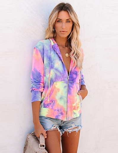 cheap Sweaters & Cardigans-Women's Fall & Winter Zipper Coat Regular Tie Dye Daily Basic Blue Purple Rainbow S M L XL