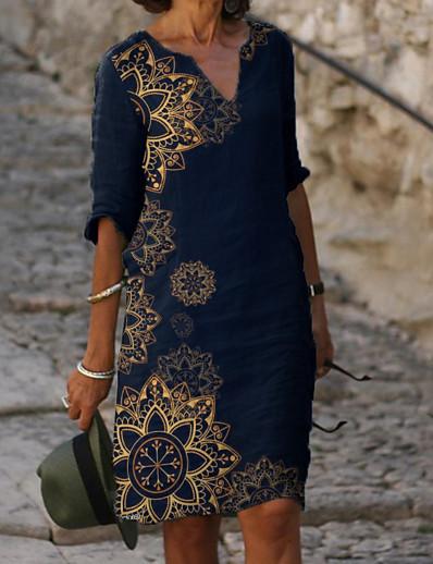 cheap DRESSES-Women's Shift Dress Knee Length Dress - Half Sleeve Floral Print Summer V Neck Elegant Daily Loose 2020 Blue M L XL XXL XXXL