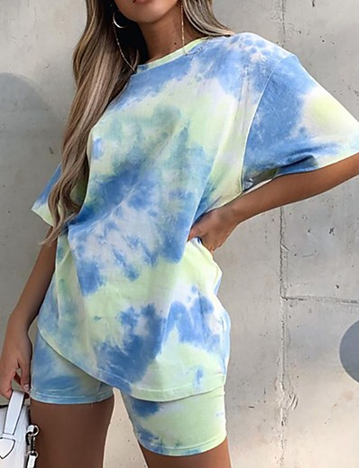 cheap JUMPSUITS & ROMPERS-Women's Basic Tie Dye Two Piece Set Set Pant Tops / Loose