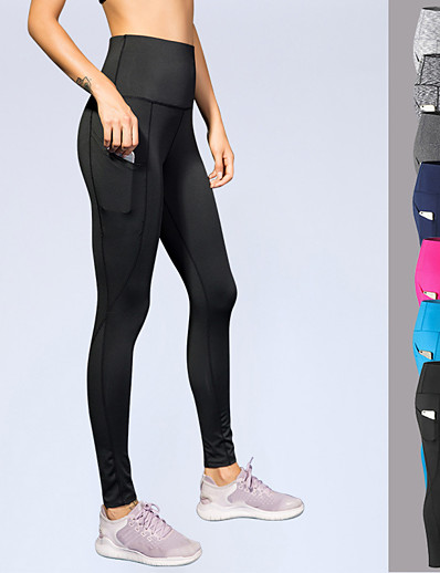 cheap Running, Jogging & Walking-YUERLIAN Women's High Waist Athletic Running Tights Leggings Compression Pants Base Layer Bottoms Spandex with Phone Pocket Fitness Gym Workout Running Jogging Tummy Control Butt Lift Quick Dry Sport