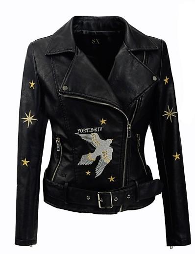cheap Furs & Leathers-Women's Zipper V Neck Jacket Short Solid Colored Daily Basic Black S M L XL / Slim