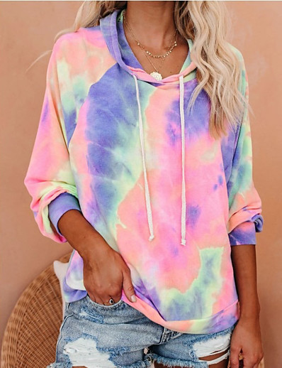 cheap Hoodies & Sweatshirts-Women's Daily Pullover Hoodie Sweatshirt Tie Dye Basic Hoodies Sweatshirts  Oversized Blue Blushing Pink