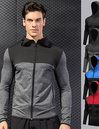 cheap Running, Jogging & Walking-YUERLIAN Men's Long Sleeve Running Track Jacket Full Zip Patchwork Outerwear Jacket Top Athletic Athleisure Winter Spandex Thermal Warm Quick Dry Breathable Fitness Gym Workout Performance Running