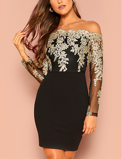 cheap Lace Dresses-Women's Bodycon Short Mini Dress Black Wine Long Sleeve Geometric Lace up Glitter Off Shoulder Hot Elegant Sexy S M L XL