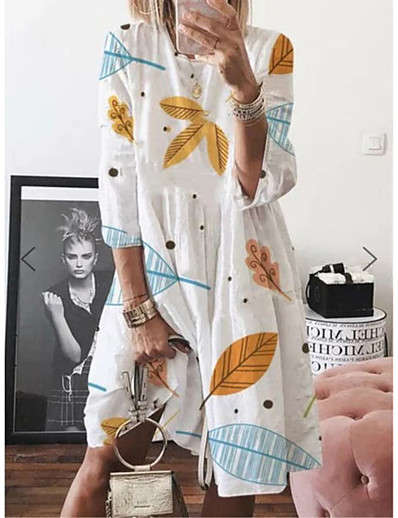cheap 09/11/2020-Women's Swing Dress Knee Length Dress - 3/4 Length Sleeve Print Patchwork Print Summer Casual Boho Daily Weekend Loose 2020 White Purple Yellow Light Blue S M L XL XXL XXXL XXXXL