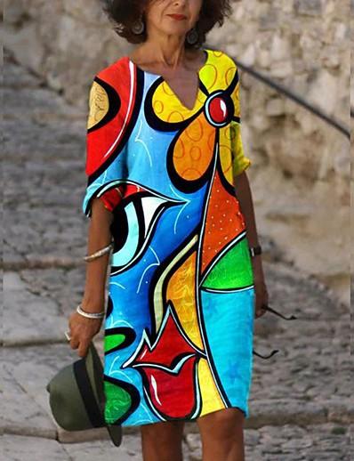 cheap Vintage Dresses-Women's Shift Dress Knee Length Dress - Long Sleeve Print Print Fall V Neck Vintage Sexy Holiday Going out Loose 2020 Blue S M L XL XXL XXXL XXXXL XXXXXL