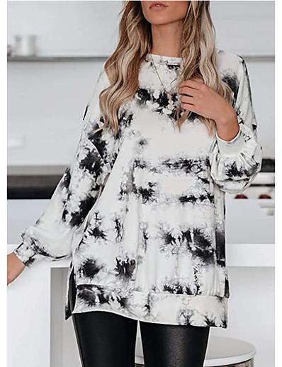 cheap Sweaters & Cardigans-Women's Pullover Sweatshirt Tie Dye Daily Casual Hoodies Sweatshirts  Loose Black Blue Khaki / Holiday