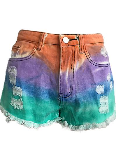 cheap Women's Bottoms-Women's Basic Outdoor Loose Daily Shorts Pants Tie Dye Purple Orange