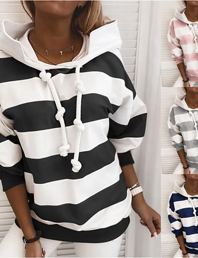 cheap Sports Athleisure-Women's Hoodie Sweatshirt Side-Stripe Oversized Hoodie Stripes Cute Sport Athleisure Pullover Long Sleeve Warm Soft Comfortable Everyday Use Causal Exercising General Use