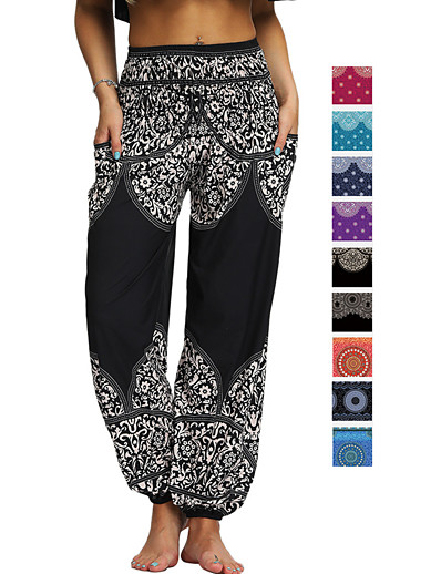 cheap Exercise, Fitness & Yoga-Women's High Waist Yoga Pants Side Pockets Harem Bloomers Breathable Quick Dry Moisture Wicking Bohemian Hippie Black Purple Red Winter Sports Activewear Stretchy Loose