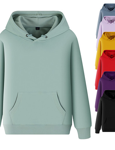 cheap Sports Athleisure-Women's Hoodie Sweatshirt Hoodies Pullover Hoody Black White Blue Pure Color Pocket Drawstring Hooded Cotton Solid Color Cute Sport Athleisure Top Long Sleeve Breathable Soft Comfortable Exercise