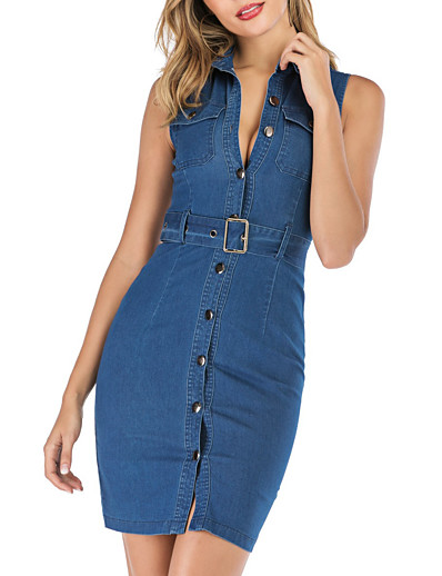 cheap Party Dresses-Women's Denim Dress Short Mini Dress - Sleeveless Solid Color Button Summer Shirt Collar Sexy Daily 2020 Blue S M L XL XXL