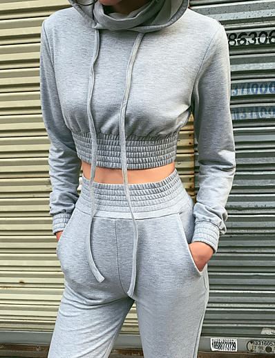 cheap Running, Jogging & Walking-Women's 2 Piece Cropped Tracksuit Sweatsuit Jogging Suit Street Casual 2pcs Winter Long Sleeve Quick Dry Breathable Soft Fitness Gym Workout Performance Running Training Sportswear Solid Colored