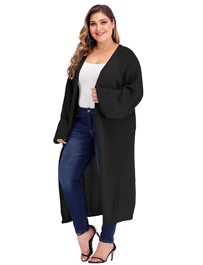 cheap TOPS-Women's Knitted Solid Colored Cardigan Long Sleeve Plus Size Loose Oversized Sweater Cardigans V Neck Fall Winter White Black Blushing Pink