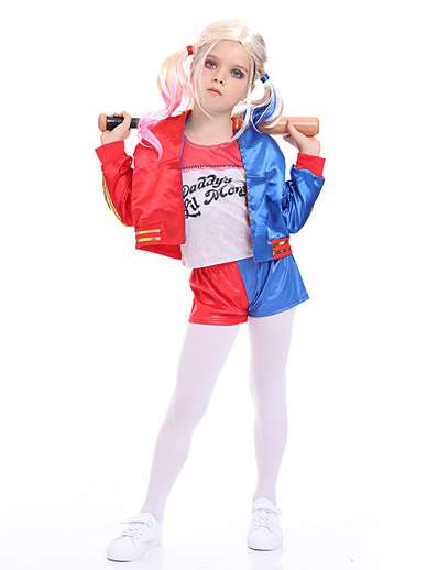 cheap Cosplay & Costumes-Harley Quinn Joker Cosplay Costume Outfits Girls' Movie Cosplay Active Blue Coat Pants T-shirt Halloween Children's Day Masquerade Polyester