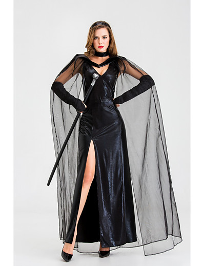 cheap HALLOWEEN 2020-Women's Shift Dress Maxi long Dress - Long Sleeve Solid Color Mesh Split Fall V Neck Sexy Party Slim 2020 Black S M L XL