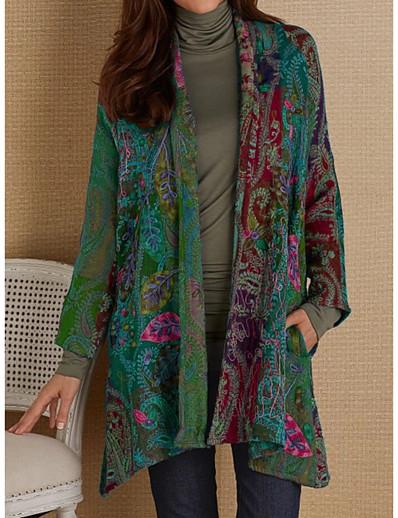 cheap OUTERWEAR-Women's Fall & Winter Open Front Sweater Coat Long Geometric Daily Basic Print Cotton Blue Purple Fuchsia Khaki S M L XL