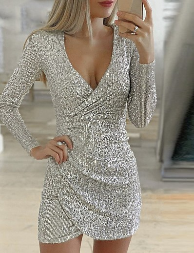 cheap 2021 Trends-Women's Sheath Dress Short Mini Dress Purple Blushing Pink Wine Gray Silver Gold Green Black Long Sleeve Solid Color Sequins Split Ruched Fall Summer V Neck Elegant Sexy Party Club Slim 2021 S M L XL