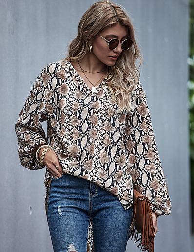 cheap TOPS-Women's Blouse Shirt Leopard Cheetah Print Long Sleeve Pleated Patchwork Print V Neck Tops Basic Basic Top Khaki