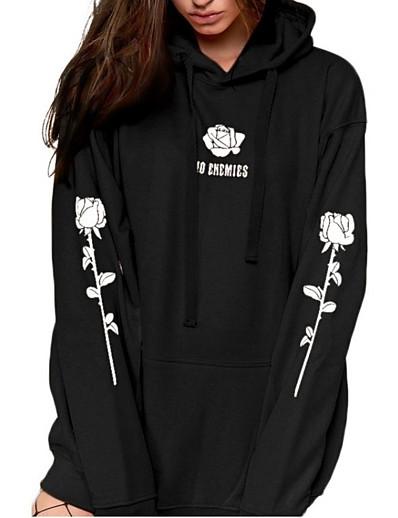 cheap TOPS-Women's Daily Pullover Hoodie Sweatshirt Floral Cute Hoodies Sweatshirts  Loose Oversized Black Blue Orange
