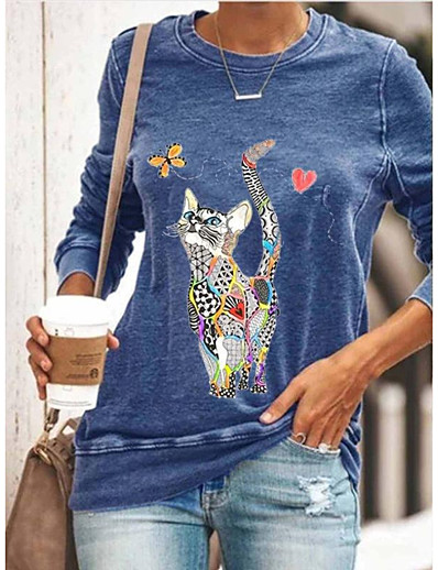 cheap Blouses & Shirts-Women's T-shirt Cat Graphic Prints Long Sleeve Print Round Neck Tops Basic Basic Top Black Green
