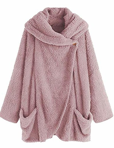 cheap Plus Size Outerwear-women plus size cardigan, winter warm long sleeve button down flannel coat with pocket pink