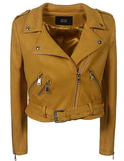 cheap Furs & Leathers-Women's Zipper Shirt Collar Faux Leather Jacket Short Solid Colored Daily Basic Black Yellow Army Green Beige S M L XL / Slim
