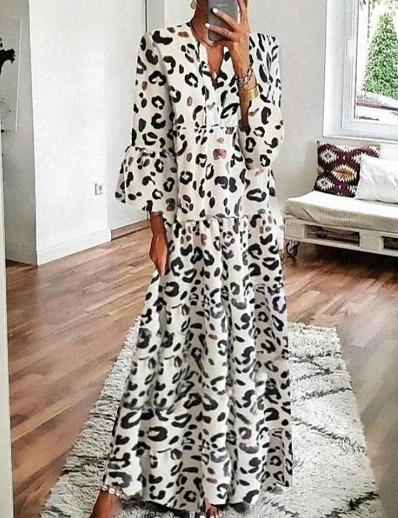 abordables NOUVELLE DANS-Femme Robe Évasée Robe Maxi longue - Manches 3/4 Léopard Imprimé Eté Automne Col en V Simple Ample 2020 Blanche Gris S M L XL XXL 3XL 4XL 5XL