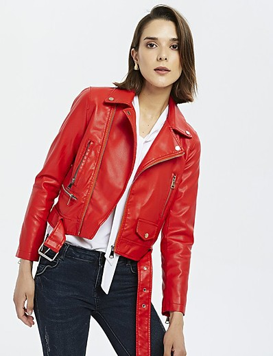 cheap Furs & Leathers-Women's Zipper Faux Leather Jacket Short Solid Colored Daily Basic Black Red S M L