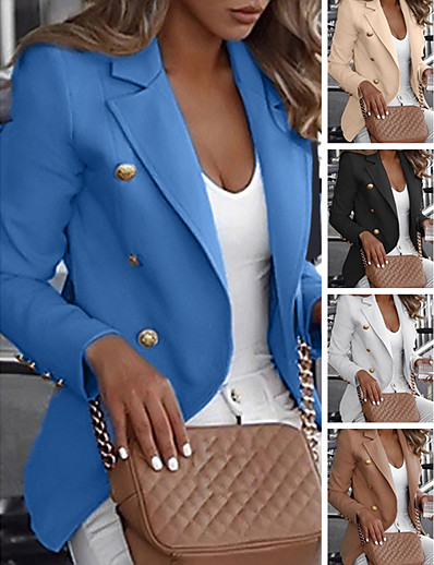 cheap Blazers-Women's Double Breasted Notch lapel collar Blazer Regular Solid Colored Daily White Blue Khaki M L XL XXL