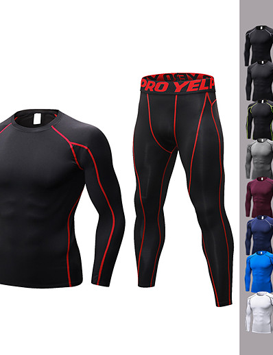 cheap Running, Jogging & Walking-YUERLIAN Men's 2 Piece Activewear Set Workout Outfits Compression Suit Athletic Long Sleeve Anatomic Design Breathability Quick Dry Fitness Gym Workout Basketball Running Jogging Sportswear Solid
