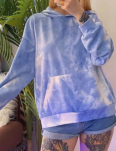 cheap Hoodies & Sweatshirts-Women's Pullover Hoodie Sweatshirt Tie Dye Daily Basic Hoodies Sweatshirts  Blue Blushing Pink Green