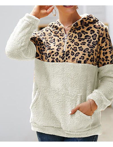 cheap Furs & Leathers-Women's Pullover Hoodie Sweatshirt Leopard Cheetah Print Basic Hoodies Sweatshirts  White Black Wine