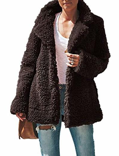 cheap OUTERWEAR-Women's Winter Solid Color Daily Wear Light Gray Dark Gray Almond Black S M L XL