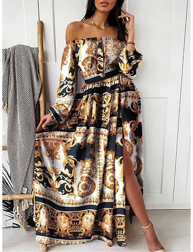 cheap Maxi Dresses-Women's Swing Dress Maxi long Dress Blushing Pink Khaki Long Sleeve Print Split Print Summer Off Shoulder Hot Sexy vacation dresses 2021 S M L XL XXL 3XL
