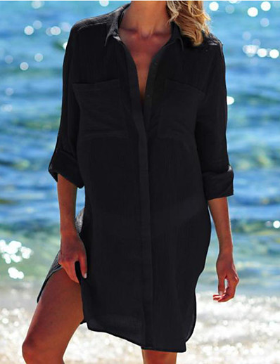 cheap Cover Ups-Women's Cover Up Swimsuit Oversized White Black Swimwear Bathing Suits
